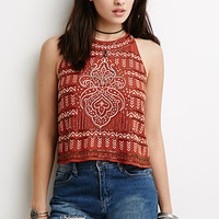 Beaded Geo-Embroidered Halter Top