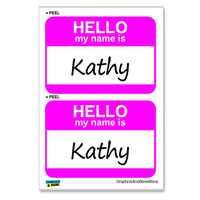 Kathy Hello My Name Is - Sheet of 2 Stickers