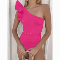Explosive bikini one-piece swimsuit new ruffled one-shoulder bikini one-piece swimsuit