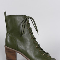 Breckelle Combat Lace Up Peep Toe Heeled Ankle Boots