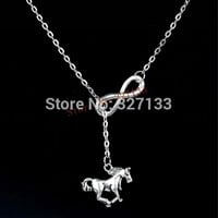Fashion Jewelry 1pcs Ancient Silver Infinity Horse Charm Pendants Necklaces For Women Jewelry 55cm S6005