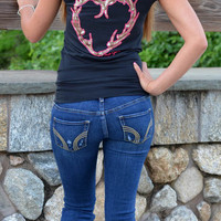Sexy and Stylish Deer antler heart hunting shirt
