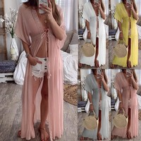 Beach Dresses And Tunics Chic Plus Size Beachwear Long Boho Loose Dress Ladies Large For Women Pareo Wear New Summer Lace Pure