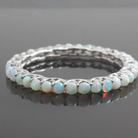9ct white gold opal eternity band