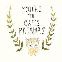 Hand-lettered Typography Art from The Black Apple - The Cat's Pajamas Print 8x10