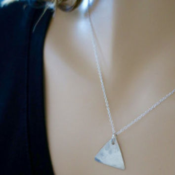 Sterling Silver Triangle Necklace Pendant Textured Hand Cut | LaLaMooD