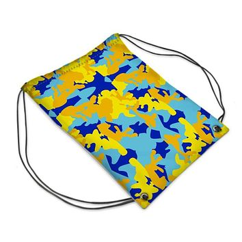 Yellow Blue Neon Camouflage Drawstring Sports Bag by The Photo Access