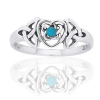 December Birthstone Ring - Sterling Silver Turquoise Celtic Trinity Knot Heart Ring Size 9(Sizes 4,5,6,7,8,9,10)