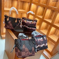 LV women's all-match handbag shopping bag mother bag two-piece set