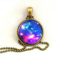 10% SALE Necklace Purple Galaxy Jewelry, Space Universe, Pendant Necklaces,Constellation,Gift For Her
