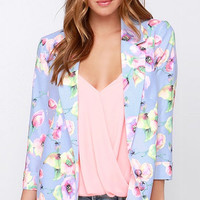 Purple Floral Long Sleeve Blazer
