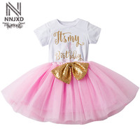 Toddler Girl Baby Frock Designs Gold Sequins Baby Girl Tutu 1st 2nd Birthday Dresses For Infant Party Dress Kids Baptism Clothes
