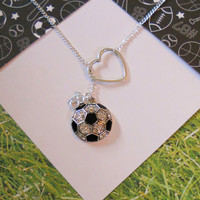 Soccer Necklace with Rhinestones and Heart and Number, handmade jewelry