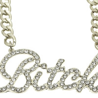 NECKLACE / LINK / METALCHAIN / CRYSTAL STONE PAVED / MESSAGE / BITCH / 1 1/2 INCH DROP / 16 INCH LONG / NICKEL AND LEAD COMPLIANT