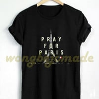 HOT Pray for Paris Shirt Eiffel Peace Tshirt Black Color T-Shirt