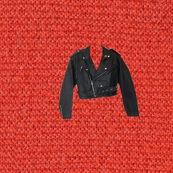 wilsons leather jacket cropped black motorcycle biker harley pin size small medium