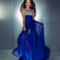 Mac Duggal Prom 2013- Royal Blue One Shoulder Gown with Embellished Top - Unique Vintage - Cocktail, Pinup, Holiday & Prom Dresses.