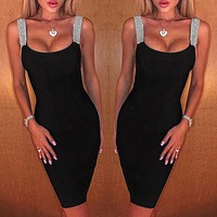 Hot summer sexy temperament suspender skirt sequined backless sleeveless slim dress