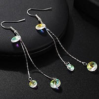 Korean Style Crystal Earrings White Beaded Drop Earrings For Womenminimalist Jewelry Simple Design Sweet Cute Pendientes