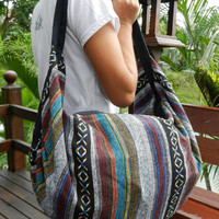 Hand Woven Cotton Shoulder Bag Backpack Crossbody Messenger Purse Travel School Bags Hmong Ikat 4