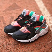 Sale Nike Air Huarache 1 Rainbow Ultra Breathe Men Women Hurache Black/Green/White Running Sport Casual Shoes Sneakers - 201