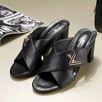 Louis Vuitton LV Women Fashion Casual Heels Shoes Slipper Shoes