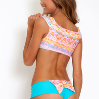 Lolli Swim Original bow bottom in light turquoise with carnival bow