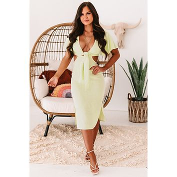 In My Prime Cut Out Midi Dress (Lime)
