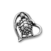 Sterling Silver Tiny Turtle Heart pendant