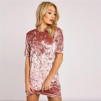 Short Sleeve O-Neck Mini velvet Dress