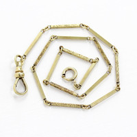 Vintage 18k Yellow Gold Filled Pocket Watch Chain - Antique Edwardian Hallmarked Simmons Swivel Clip Spring Clasp Panel Filigree Jewelry