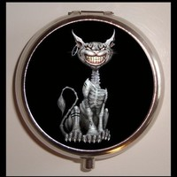 Gothic Goth Cheshire Cat Alice in Wonderland Psychobilly Pill box Pillbox Case Holder for Vitamins Drugs Birth Control