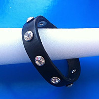 Genuine Leather Bracelet  - Black leather with Rhinestones  / Slim Design