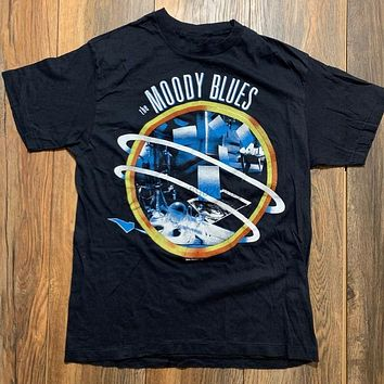 Vintage 80S 1986 The Moody Blues Live In Concert Tour T Shirt Rock Band Sz Large Sportswear Tee Shirt|T-Shirts