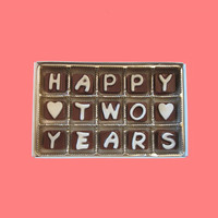 Happy 2 Years Cubic Chocolate Letters