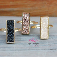 Druzy ring - bridsmaids jewelry -  24K Gold Plated - size 7 - pick your color