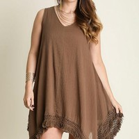 Mocha Fringe A GoGo Plus Size Dress