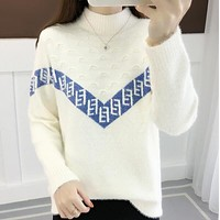 FENDI Popular Women Comfortable Mohair Long Sleeve Sweater Top Sweatshirt White