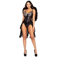Sexy Fallen Dark Angel Sequin Black Romper Costume