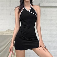 Summer new women's hanging neck slim sexy backless fashion contrast color temperament dress women
