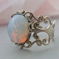 Opal Ring, Silver Opal Rings, Adjustable White Opal Ring
