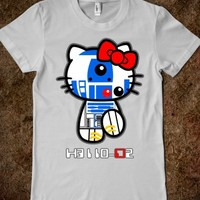 Star Wars R2D2 Robot droid Hello Kitty woman girl fitted Tee Tshirt