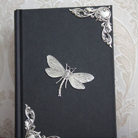 Decorated notebook - gothic victorian silverplated dragonfly and silverplated hook embellishments