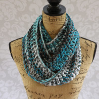 Ready To Ship Infinity Scarf Turquoise Teal Gray Black White Long Women's Accessory Cowl Infinity Scarf
