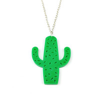 NEW Acrylic Cactus Necklace - Cacti, Nature, Succulent, Boho Jewellery, Lasercut Jewelry, Quirky, Desert, South Western, Green