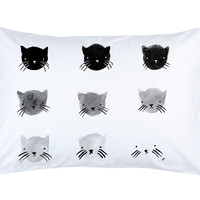 Stay Home Club — Greyscale Kitties pillow case