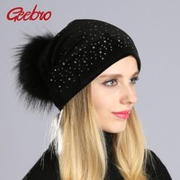 Geebro Winter Women's Pom Pom Rhinestones Beanie Hat and Neck Scarves Casual Casual Velvet  Beanies Hat With Raccoon Fur Pompon