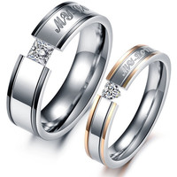 1PCS Fashion Jewelry Punk Style Mens OR Womens Gold 316L Stainless Steel Lover's CRYSTAL Rings Couples Wedding Bands Promise Ring Set From Milkle Gift = 1933058308