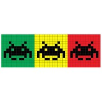 Space Invaders - Rasta Trio Canvas Wall Art - Configuration: 1 Panel, Size: 24 H x 72 W x 1.5 D