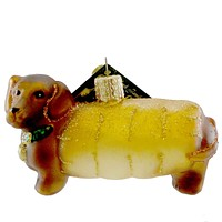 Old World Christmas WIENER DOG Blown Glass Christmas Ornament Dachshund 12247